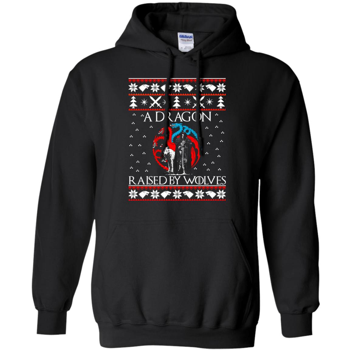 jon snow a dragon raised by wolves ugly christmas sweater long sleeve image