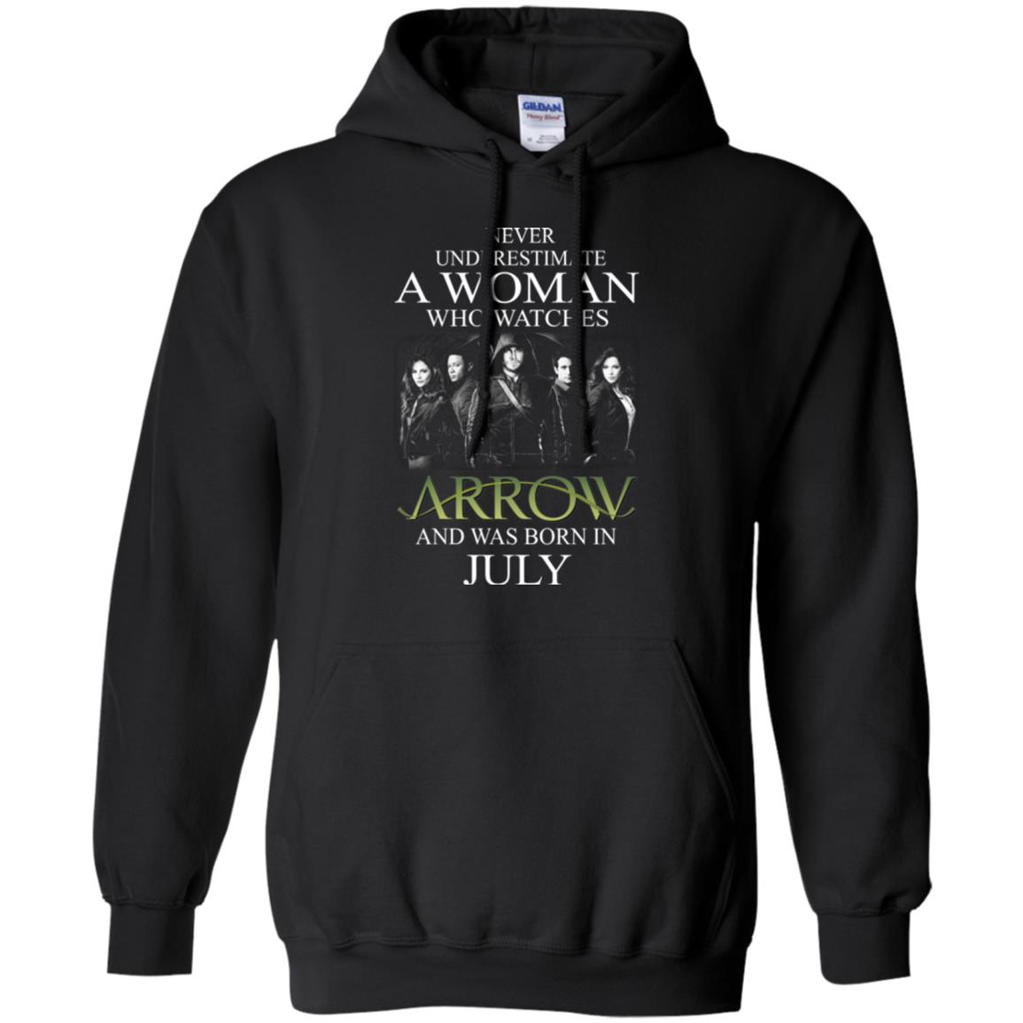 Never Underestimate A woman who watches Arrow and was born in July shirt - image 1522