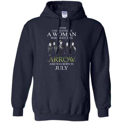 Never Underestimate A woman who watches Arrow and was born in July shirt - image 1523 500x500