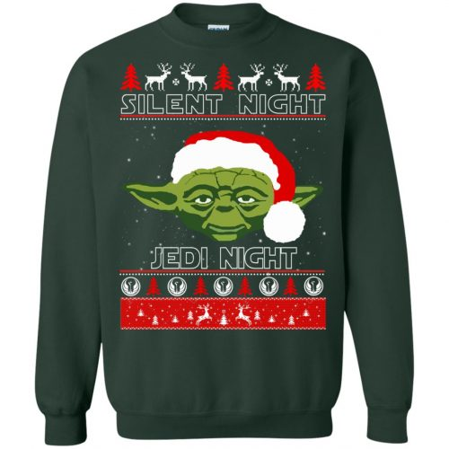 Star Wars Yoda Silent Night Jedi Night ugly Christmas Sweatshirt, Hoodie - image 2814 500x500