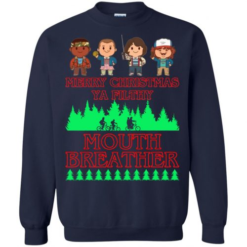 Stranger Things Merry Christmas Ya Filthy Mouth Breather Sweater, Shirt - image 5158 500x500