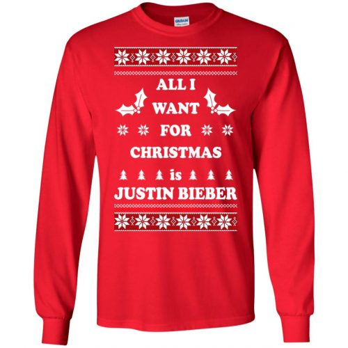 All I want for Christmas is Justin Bieber Ugly Sweater, Long Sleeve - image 3894 500x500