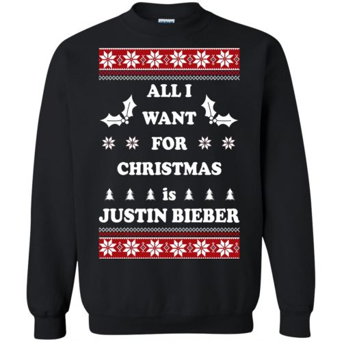 All I want for Christmas is Justin Bieber Ugly Sweater, Long Sleeve - image 3898 500x500