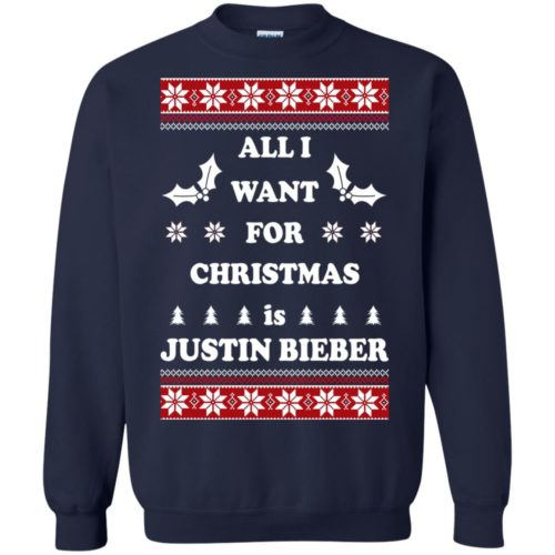 All I want for Christmas is Justin Bieber Ugly Sweater, Long Sleeve - image 3899 500x500