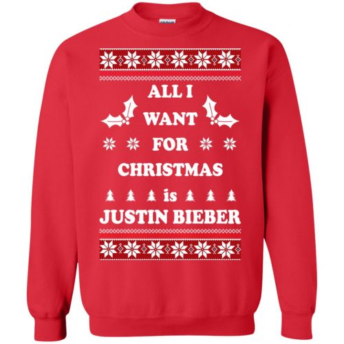 All I want for Christmas is Justin Bieber Ugly Sweater, Long Sleeve - image 3900 500x500