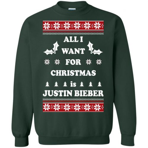 All I want for Christmas is Justin Bieber Ugly Sweater, Long Sleeve - image 3901 500x500
