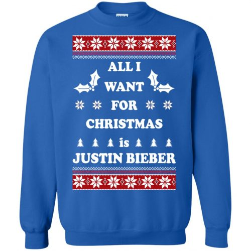 All I want for Christmas is Justin Bieber Ugly Sweater, Long Sleeve - image 3902 500x500