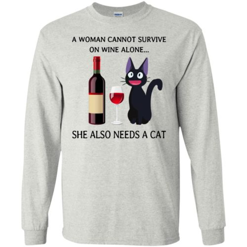 A Woman cannot Survive on Wine alone she also needs a Cat shirt - image 1984 500x500