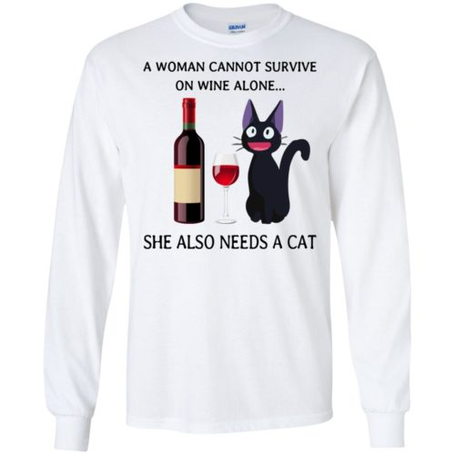 A Woman cannot Survive on Wine alone she also needs a Cat shirt - image 1985 500x500
