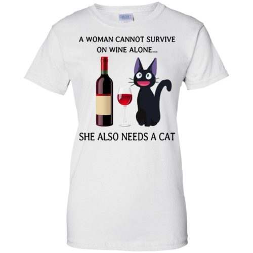 A Woman cannot Survive on Wine alone she also needs a Cat shirt - image 1989 500x500