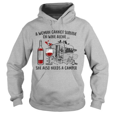 A  Woman can not survive on wine alone She also need a camper shirt - A Woman cannot 400x400