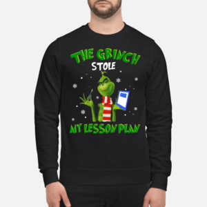 The Grinch stole my lesson plan Christmas sweatshirt - THE GRINCH STOLE MY LESSON PLAN unisex sweatshirt jet black front 1 300x300