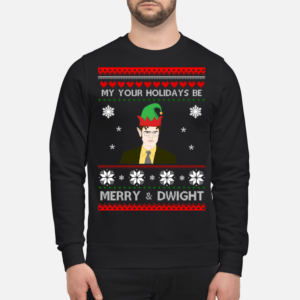 My your holidays be merry and Dwight Christmas sweatshirt - my your hlidays be merry and dwight christmas sweatshirt unisex sweatshirt jet black front 1 300x300
